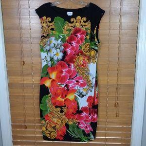 Cache' Sleeveless Floral Print Shift Dress